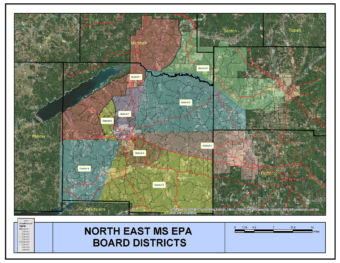 North East MS EPA Board Districts Service Territory Map.