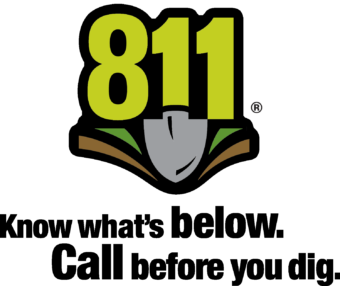 811 Know what's below. Call before you dig logo.