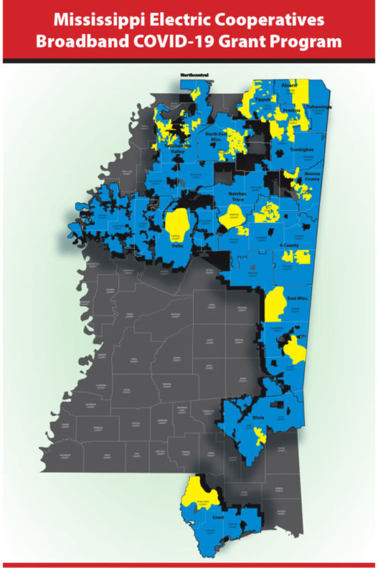 Mississippi Electric Cooperatives Broadband COVID-10 Grant Program Map, blue area in north and east Mississippi showing recepients