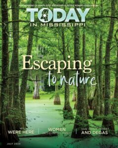 Today in Mississippi July 2020 issue cover. Escaping to nature. Forest.