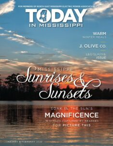 Today in Mississippi Jan/Feb 2020 issue cover. Sunrises and sunsets. Sunset over a lake.