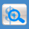 Magnifying glass over dollar sign icon button