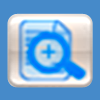 Magnifying glass over document icon button